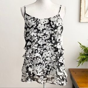 NY & Co Floral Tiered Ruffle Tank Top Camisole